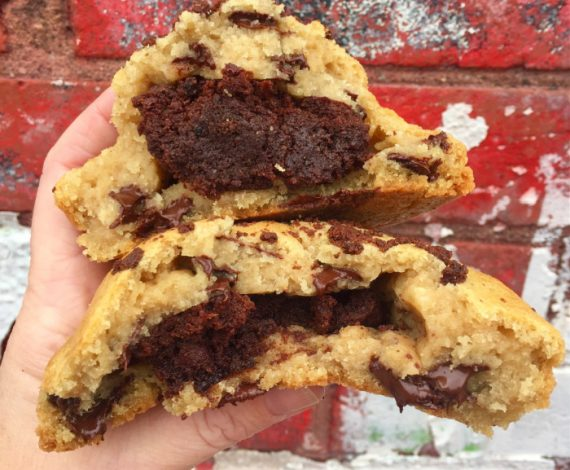 Brownie Stuffed Chocolate Chip Cookie